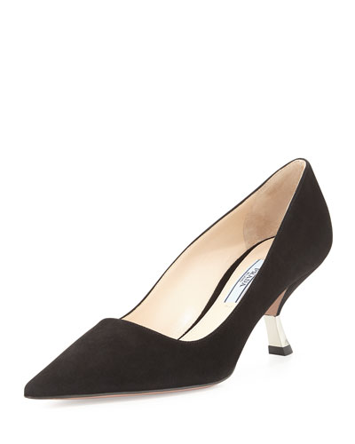 Suede Comma-Heel Pointed-Toe Pump, Navy (Marina)