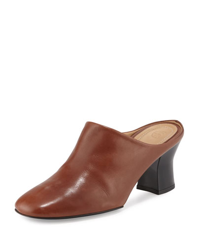 Adela Leather Block-Heel Mule, Black/White