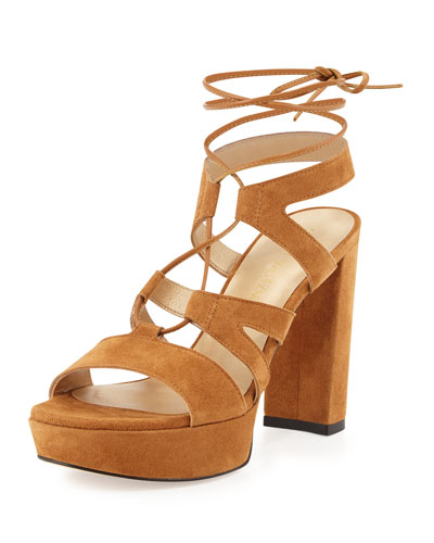 Tiegirlbingo Suede Platform Sandal, Camel