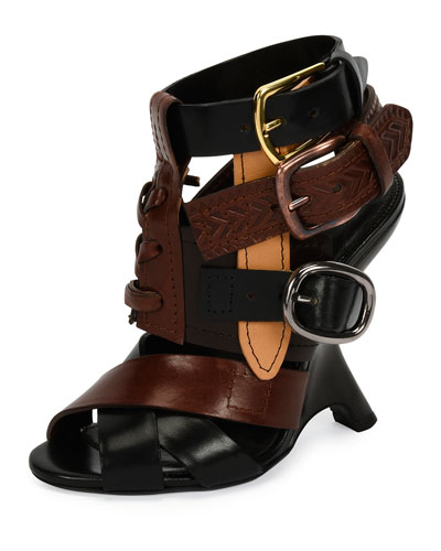 Multi-Strap 110mm Wedge Sandal, Black/Brown