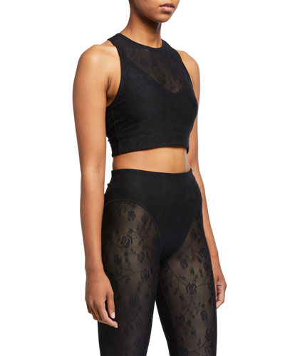 Rose Mesh Racer Crop Top