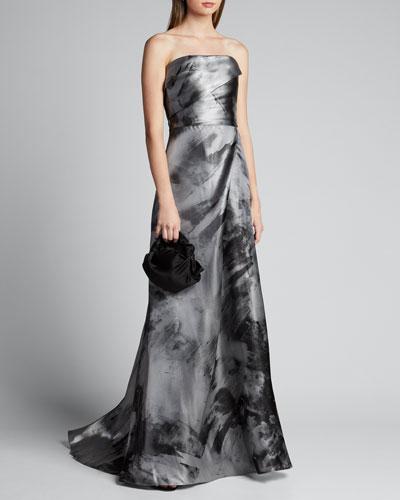 Asymmetric Bustier A-Line Gown