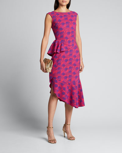Printed High-Neck Sleeveless Asymmetric Flounce Dress