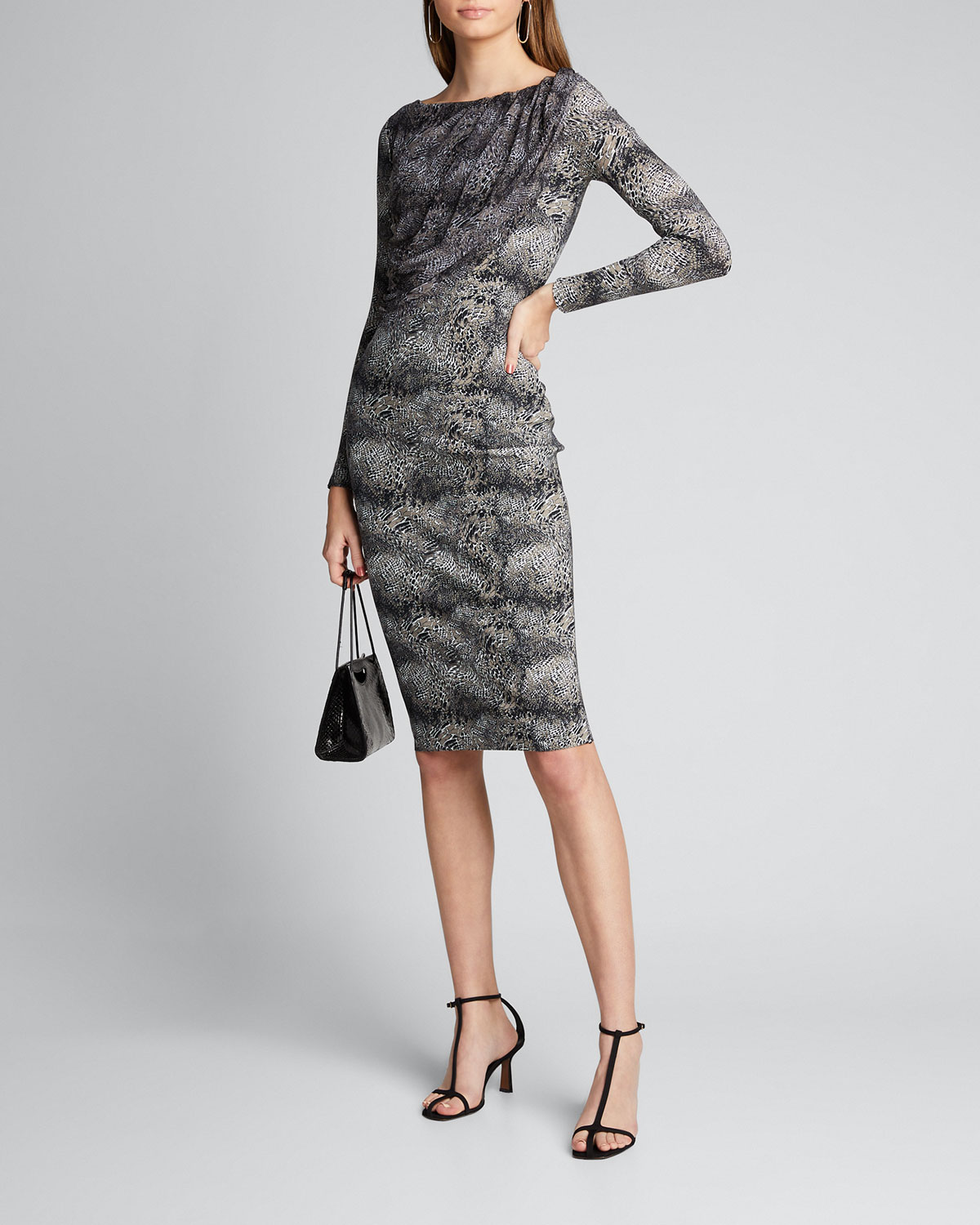 Chiara Boni La Petite Robe Dresses SNAKE-PRINT LONG-SLEEVE DRESS WITH SHEER BODICE OVERLAY