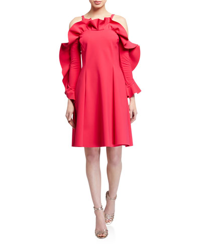 Ruffle-Neck Cold-Shoulder A-Line Dress