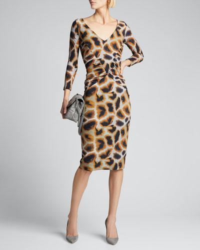 Animal Print V-Neck 3/4-Sleeve Side-Shirred Dress