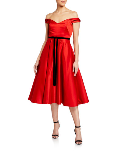 Off-the-Shoulder Satin Midi Dress