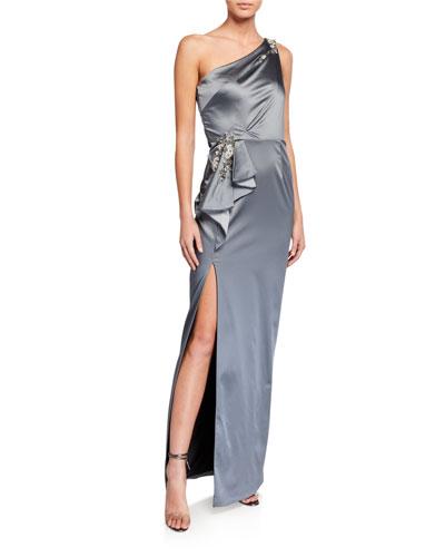 One-Shoulder Stretch Satin Gown w/ Asymmetric Side Ruffle