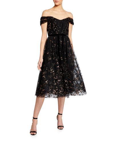 Off-the-Shoulder Flocked Glitter Tulle Midi Dress