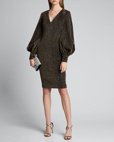 Metallic Shimmer Knit V-Neck Poet-Sleeve Dress