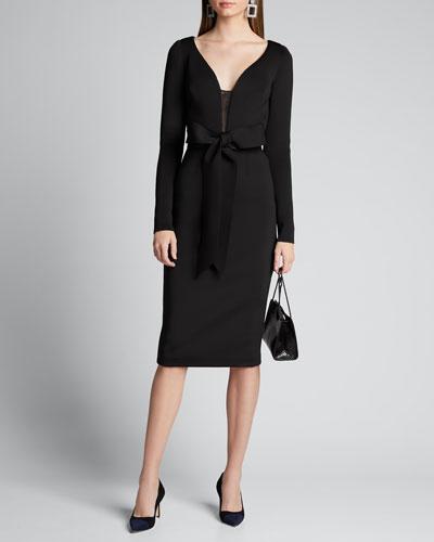 V-Neck Long-Sleeve Scuba Dress with Bow