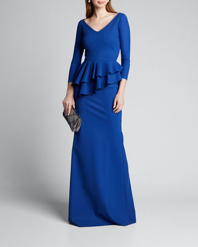 V-Neck Layered Peplum 3/4-Sleeve Gown
