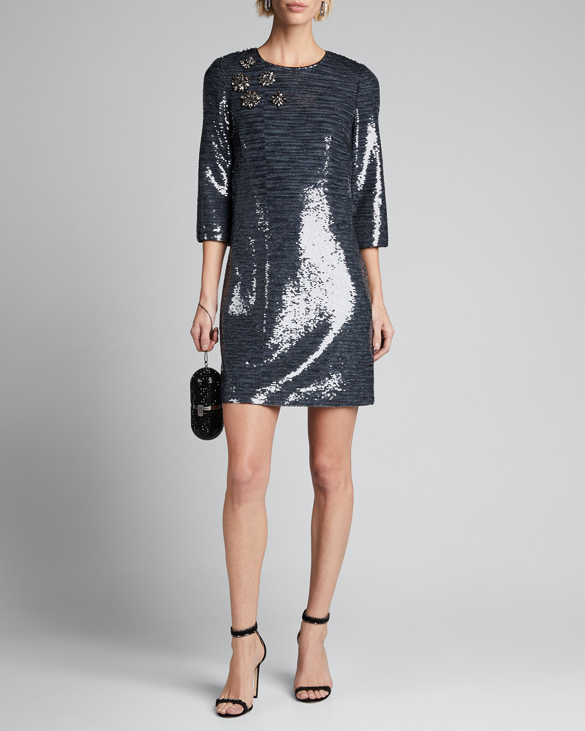 Badgley Mischka Dresses SEQUIN SACK ELBOW-SLEEVE MINI DRESS W/ BROACHES