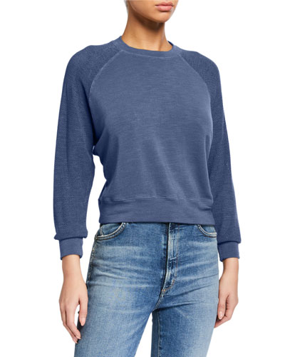 Supersoft Mesh-Sleeve Slouchy Raglan Tee