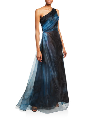 Ombre Asymmetric One-Shoulder Sheer Gown