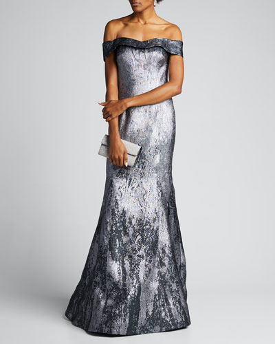 Off-the-Shoulder Metallic Jacquard Mermaid Gown