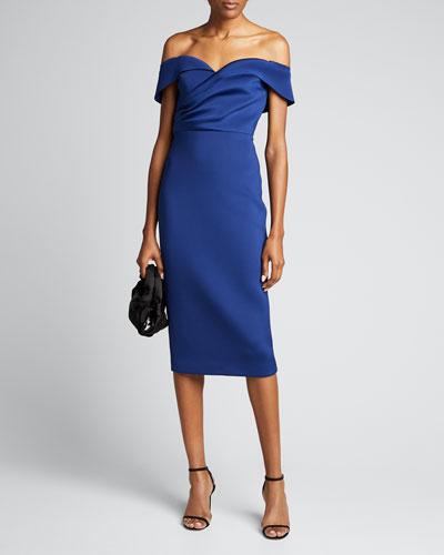 Off-the-Shoulder Draped Top Scuba Dress