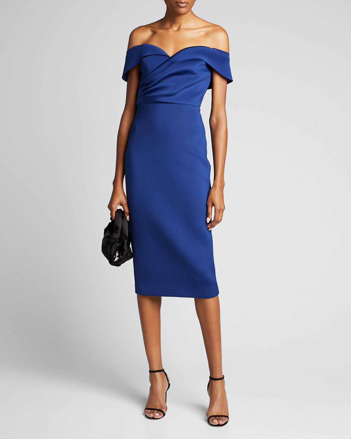 Badgley Mischka Dresses OFF-THE-SHOULDER DRAPED TOP SCUBA DRESS