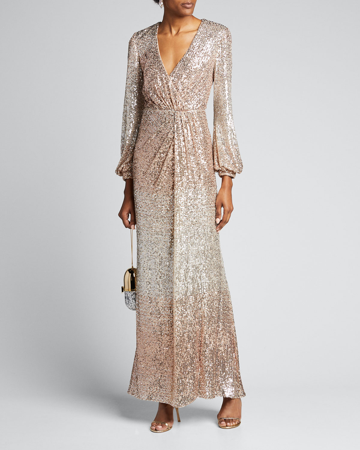 Badgley Mischka Tops OMBRE SEQUIN LONG-SLEEVE DRAPE GOWN