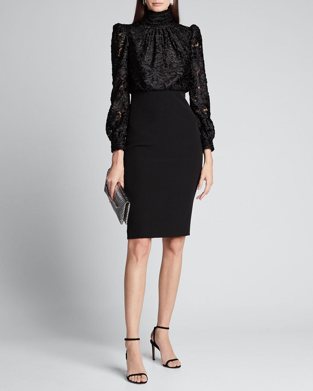 Badgley Mischka Dresses CLIP PRINT POET TOP DRESS W/ CREPE SKIRT