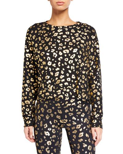 Cheetah Foil Printed Crewneck Long-Sleeve T-Shirt