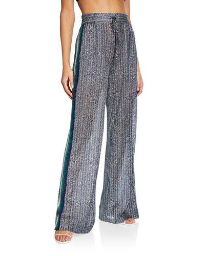 Metallic Wide-Leg Pants w/ Side Stripes