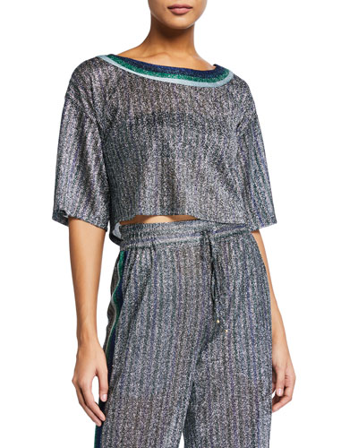 Cropped Metallic Round-Neck Coverup Tee