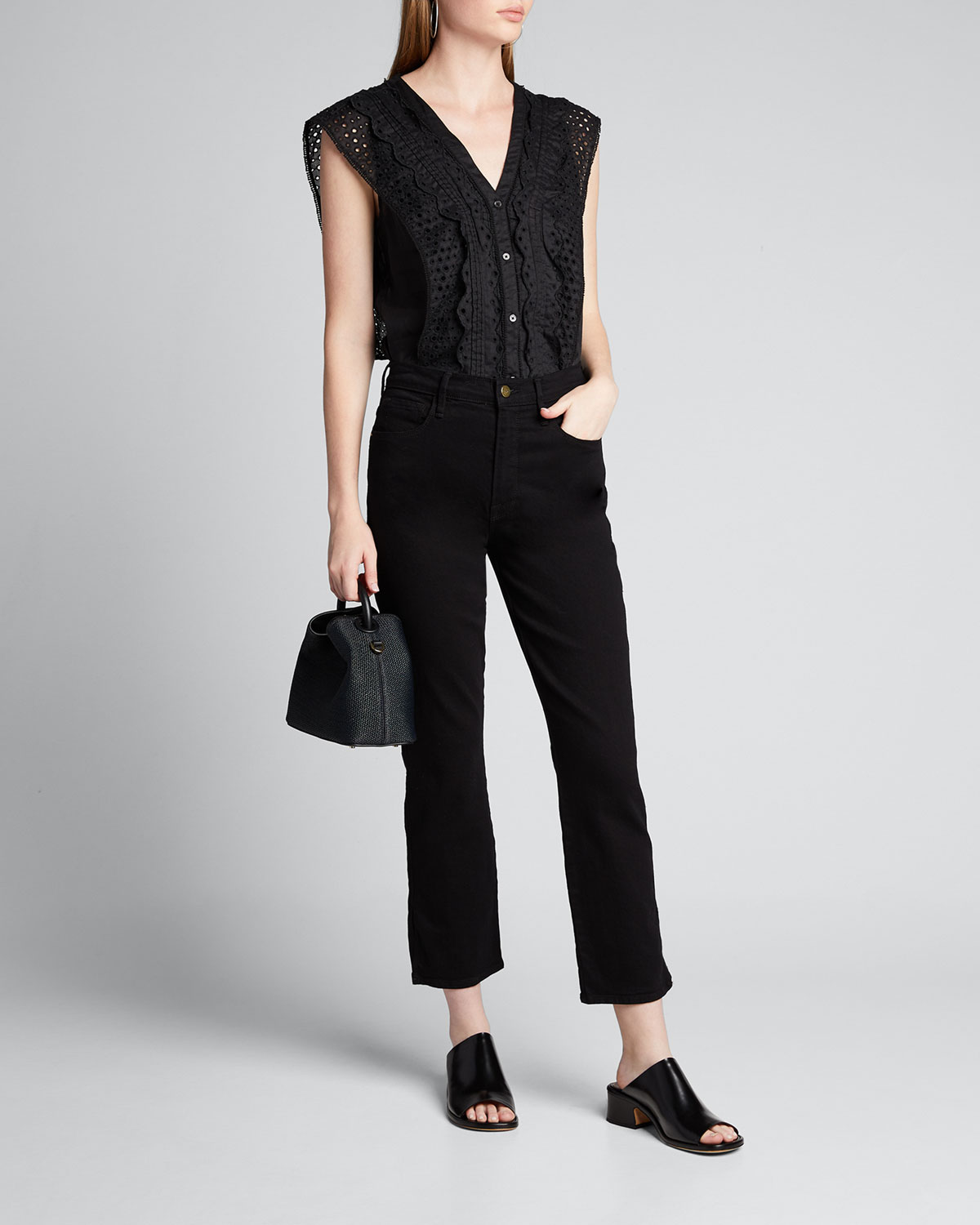 Frame Tops V-NECK LACE PINTUCK BLOUSE