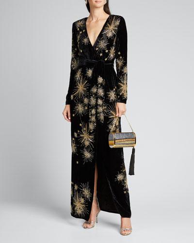 Rita Embellished Velvet Long-Sleeve Cocktail Dress