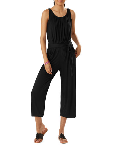 Slub Knit Sleeveless Crop Jumpsuit
