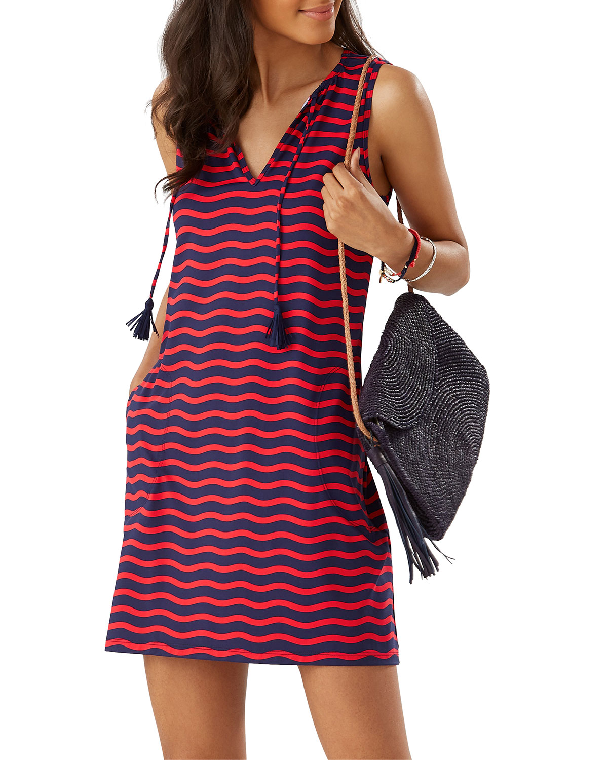 Tommy Bahama Dresses SEA SWELL STRIPED V-NECK SLEEVELESS SPA DRESS