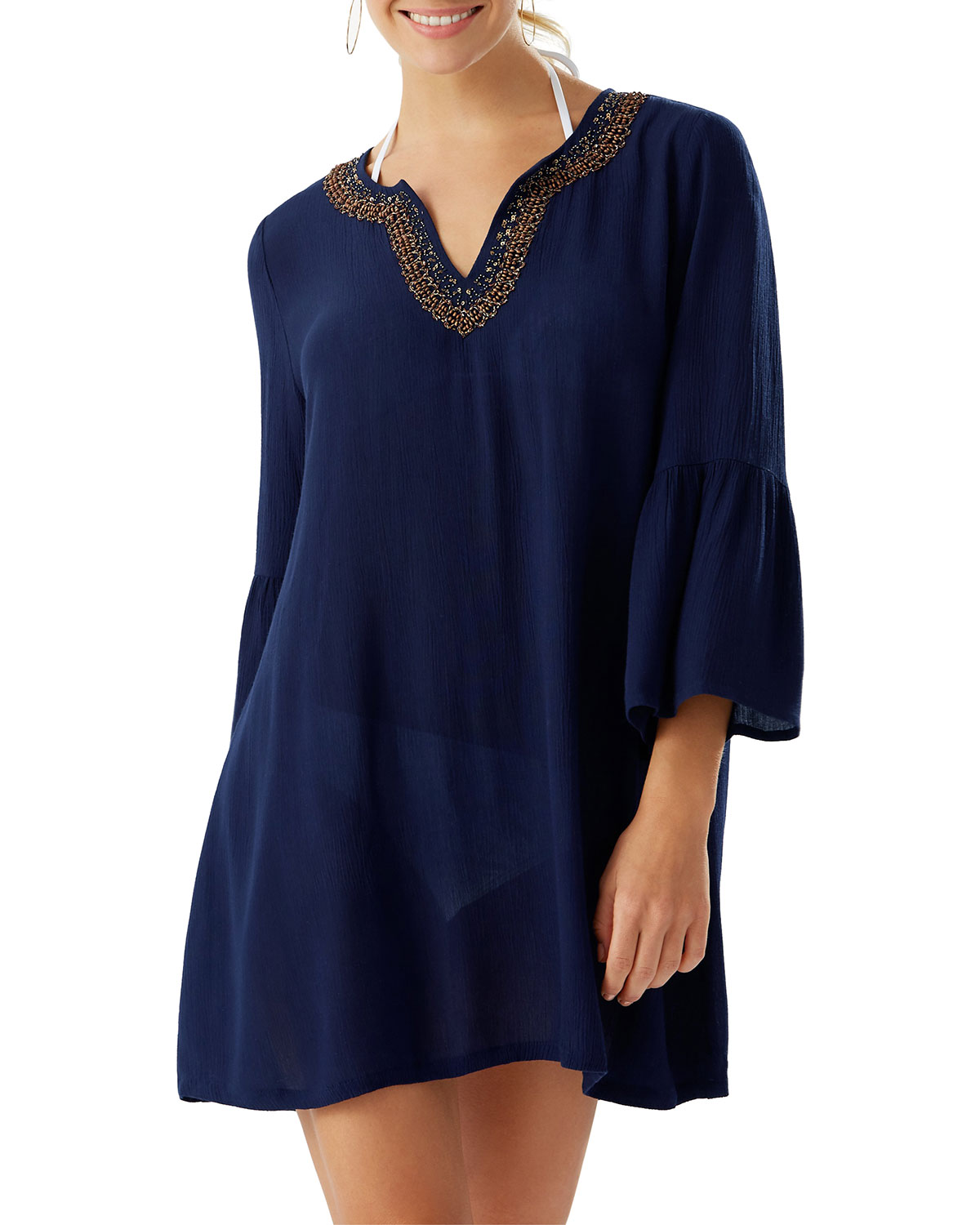 Tommy Bahama Tops BELL-SLEEVE BEADED TRIM CRINKLE TUNIC COVERUP