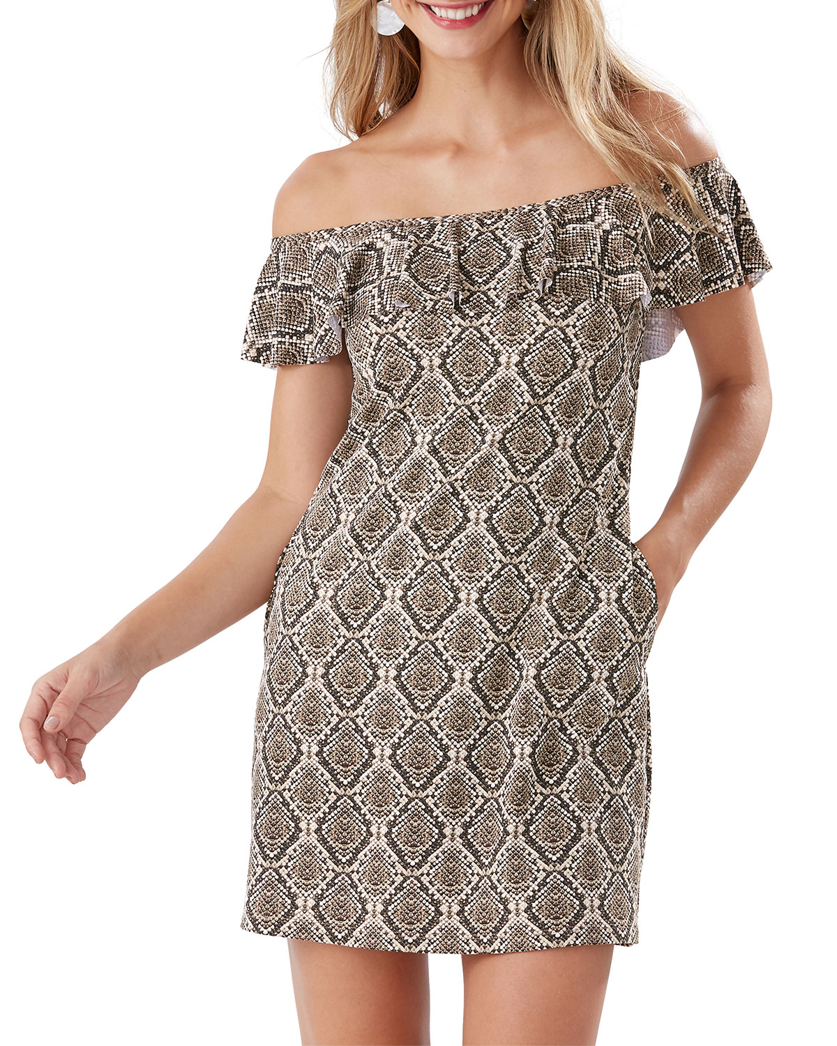 Tommy Bahama Dresses DESERT PYTHON OFF-SHOULDER RUFFLE SPA DRESS