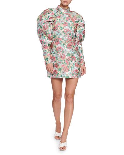 Kim Puff-Sleeve Floral Jacquard Mini Dress