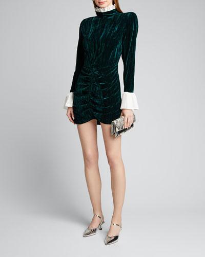 Miki Ruched Velvet Mini Dress