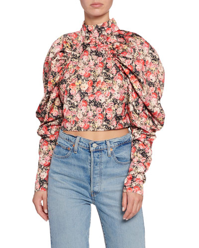 Kim Puff-Sleeve Floral-Print Crop Blouse