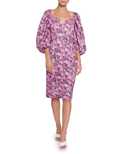 Irina Blouson-Sleeve Floral Sweetheart Dress