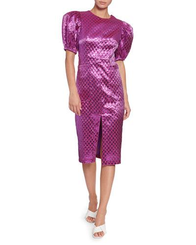 Katrina Metallic Jacquard Short-Sleeve Dress
