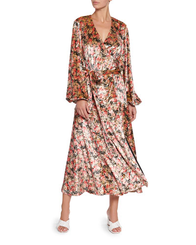 Beatirx Floral Velvet Blouson-Sleeve Wrap Dress