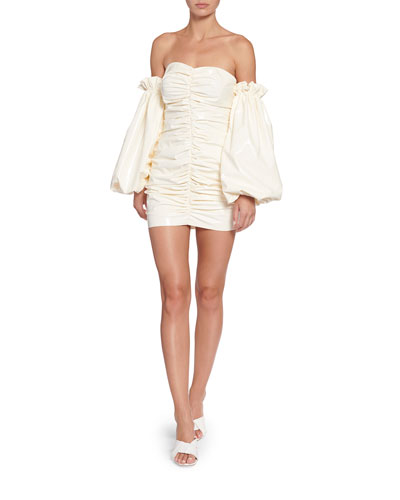 Phoebe Ruched Patent Off-Shoulder Mini Dress