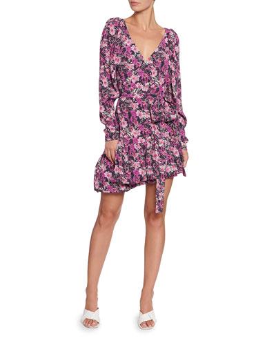 Nancy Floral Long-Sleeve Flounce Dress