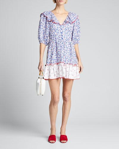 Puff-Sleeve Ruffle Short Dress w/ Lace-Up Back