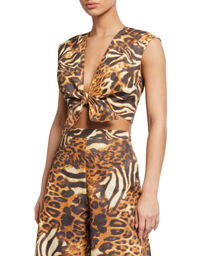 Marcy Animal-Print Coverup Crop Top