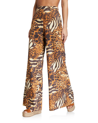 Pamela Animal-Print High-Waist Coverup Pants