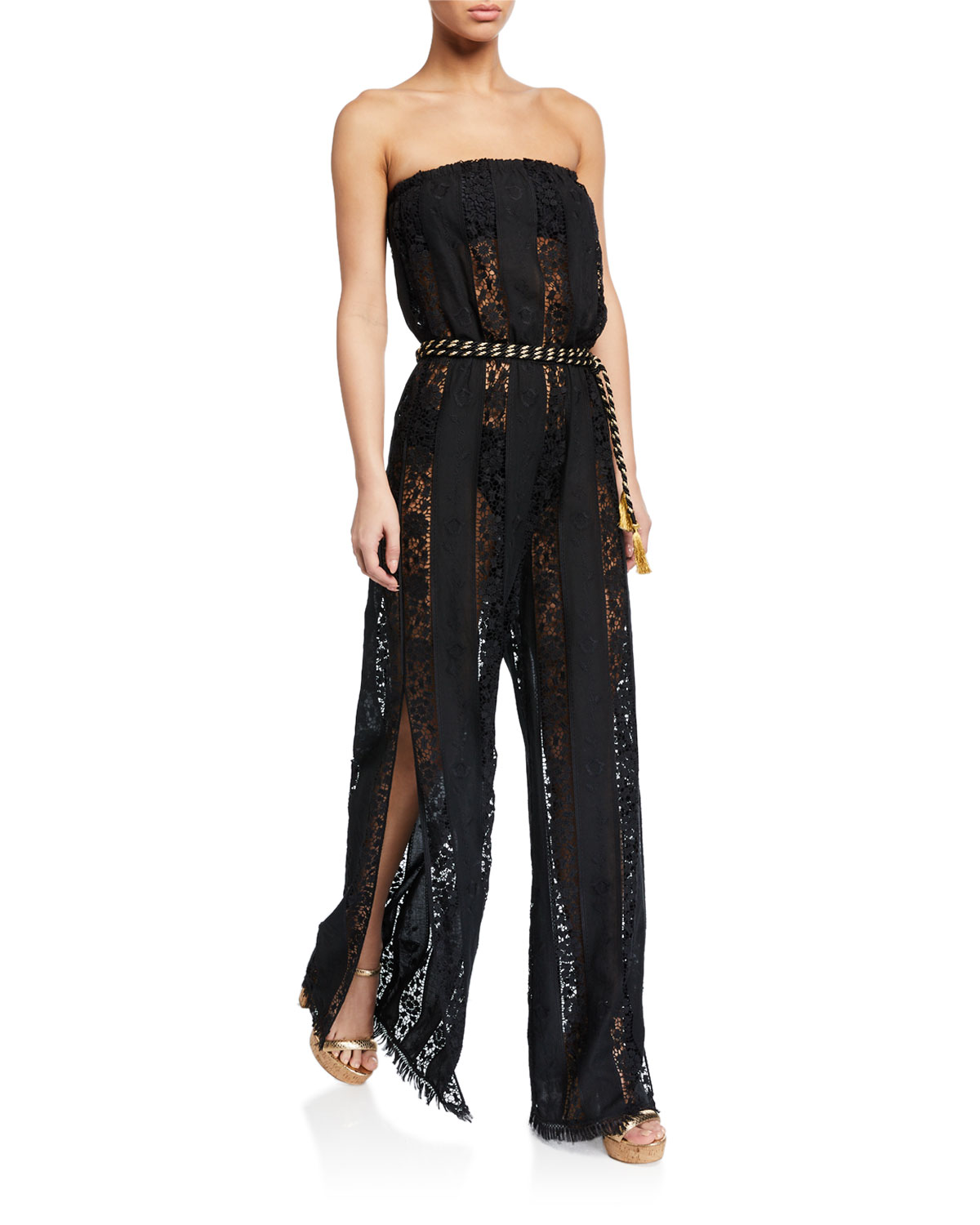 Miguelina NAIMA STRAPLESS LACE BELTED JUMPSUIT