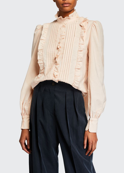 High-Neck Ruffle Pintuck Blouse