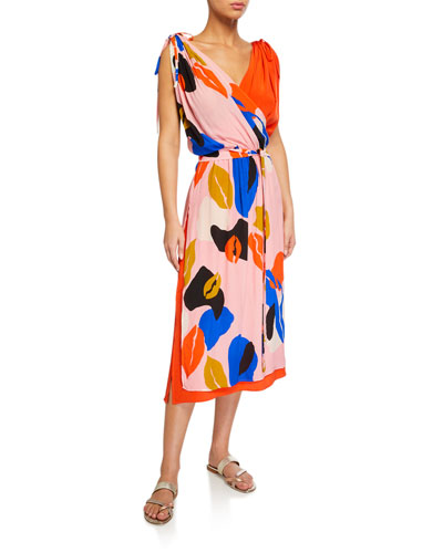 Gretta Printed Wrap Coverup Dress