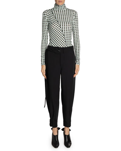 Belted Tapered Ankle Pants