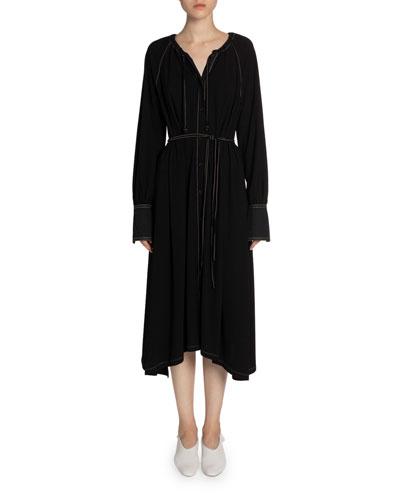 Matte Jersey Long-Sleeve Dress