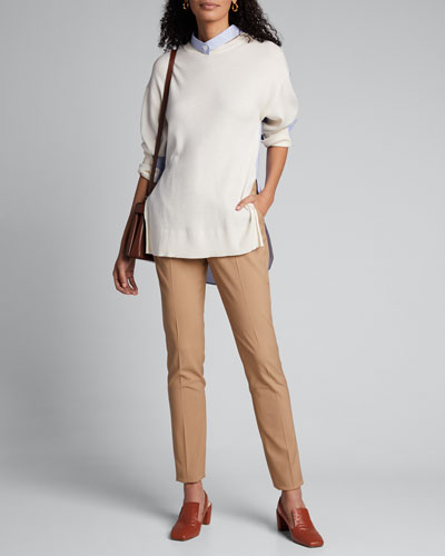 Wool Sweater with Shirt Trim
